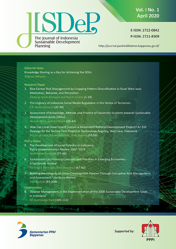 JISDeP – The Journal of Indonesia Sustainable Development Planning (Vol. 1 No. 1 - April 2020)